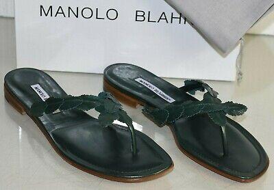 $735 Neu Manolo Blahnik Pipilia Grün Napa Leder Flach Riemen Sandalen Schuhe 41 äSthetisches Aussehen