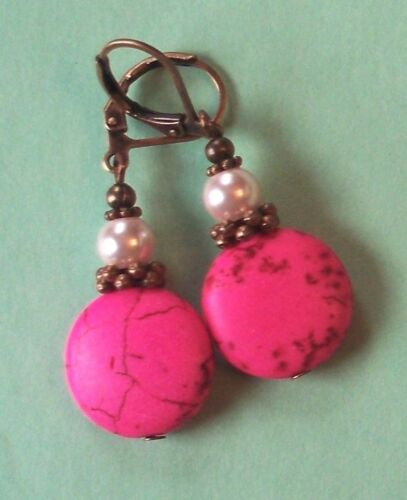 PINK HOWLITE pastel glass pearl earring COPPER LEVERBACK handcrafted
