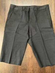 Theory-Size-0-Women-Bermuda-Walking-Shorts-Black-Linen-Blend-Pockets-Flat-Front
