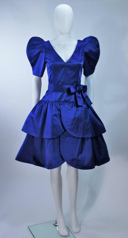 ARNOLD SCAASI Blue Satin Cocktail Dress with Bow … - image 2