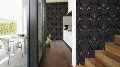 CHARCOAL BLACK SILVER DAMASK GLITTER TEXTURED WALLPAPER A.S.CREATION 95703-1