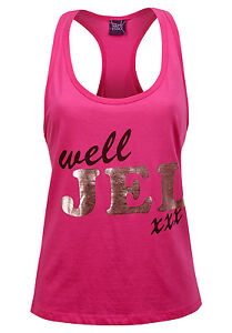 Senoras-Chaleco-Rosa-Camiseta-sin-mangas-Informal-de-Verano-para-Mujeres-Camisa-Sin-Mangas-Brillante