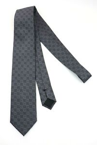 New-210-GUCCI-Italy-Grey-Geometric-Rings-Woven-100-Silk-Neck-Tie-3-1-8-034