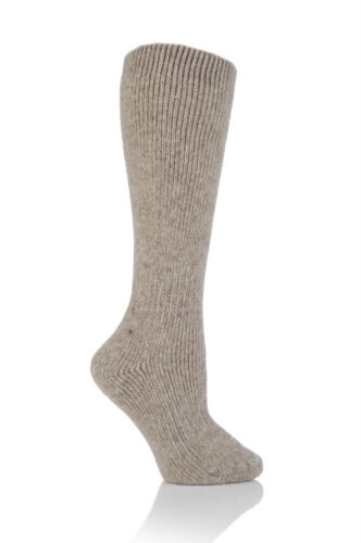 Ladies WOOL 2.7 Tog Long Knee High Thermal Heat Holders Socks 4-8 37-42 Oatmeal