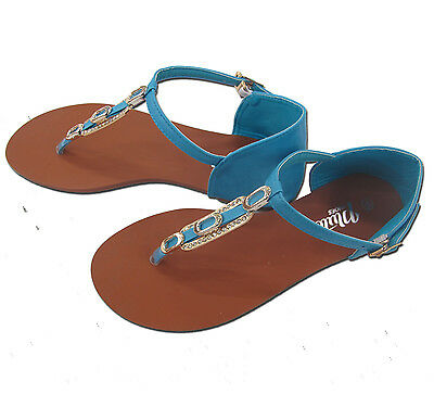 Señoras Nuevo Zapatos planos Toe Post Sandalias Ojotas De Verano Playa Todas Las Tallas