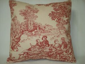 Cool Details About Toile Burgundy Decorative Accent Throw Pillow Cover 14 X 14 Creativecarmelina Interior Chair Design Creativecarmelinacom