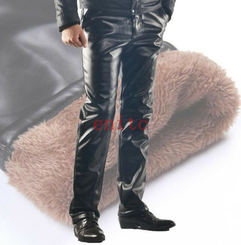 Winter Pu Leather Warm Fur Lined Casual Mens Straight leg Long Pants Trouser M05