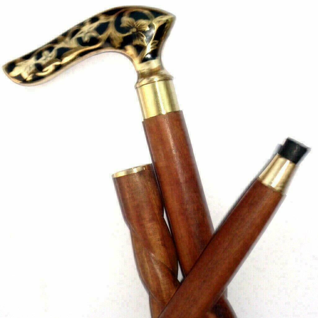 Brass Beautiful Flower Design Handle Spiral Walking Stick Brown Wood Twist Cane