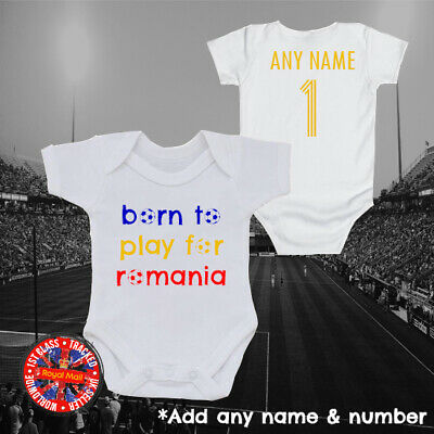 """Kids Gift Romania Football /""""Born to play for/"""" Personalised Babygrow"""