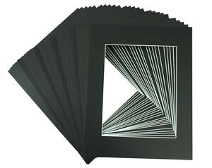 25-set-of-12x16-BLACK-Photo-Mats-with-White-Core-for-8x12-Photo-Backing-Bags