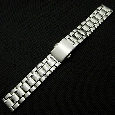 Silver 18mm Stainless Steel Wrist Watch Band Fold Clasp Push Button Mens Womens