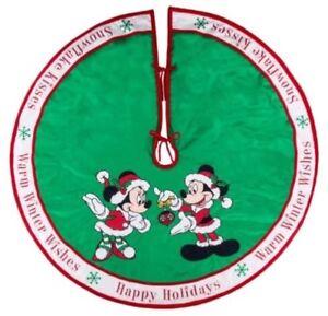 Disney Parks Santa Mickey Minnie Holiday Green Christmas Tree Skirt