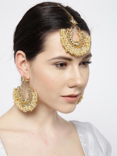 Indian Pakistani White Pearl Stone Maang Tikka Bridal Earrings Bridal Jewellery