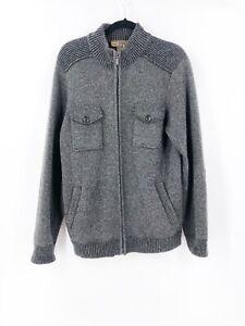 Pronto-Uomo-Men-039-s-Large-100-Wool-Cardigan-Zip-Jacket-Sweater-Gray