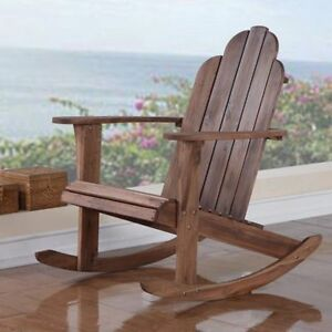 Wood Adirondack Rocking Chair Natural Teak Indoor Outdoor Patio