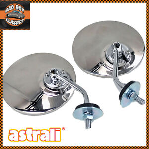 Pair-Lucas-Type-Polished-Stainless-Steel-Classic-Car-Mirrors-Wing-Door-UNIVERSAL