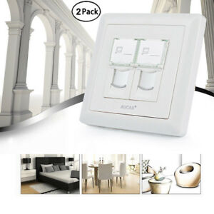 2-Pack-Dual-Port-RJ45-Wall-Plate-Cat6-Network-Ethernet-Wall-Outlet-Dust-Proof