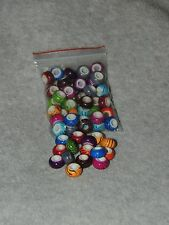 50 pcs silver european bead charm acrylic assorted colors with stripes