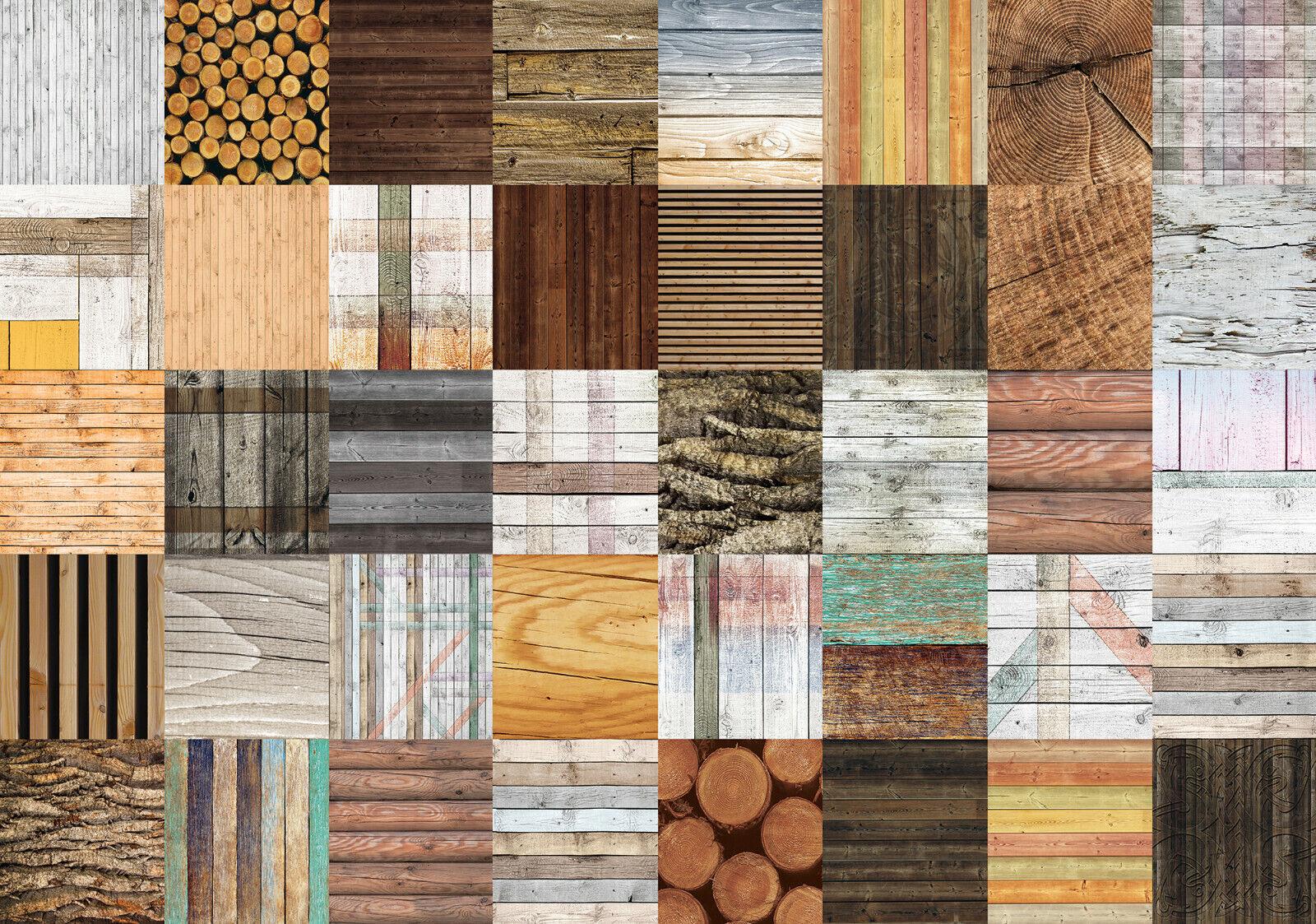 VLIES Fototapete-ABSTRAKT DESIGN-(2619)-Holz-Wand Collage Optik Muster Dekor