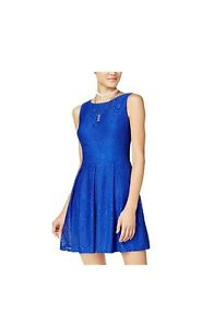 NWT-B-Darlin-Colbalt-Blue-Lace-Pleated-Sleeveless-Fit-amp-Flare-Dress-Size-3-4