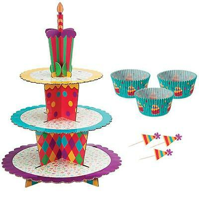 Wilton PRINCESS Sturdy Pressed Paper Cupcake Stand Kit 1510-1008 Pink Crown
