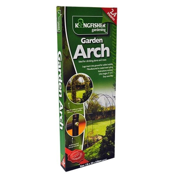 GARDEN ARCH BLACK METAL POWDER COATED ROSE CLIMBING PLANTS TRELLIS ARCHWAY 2.4M