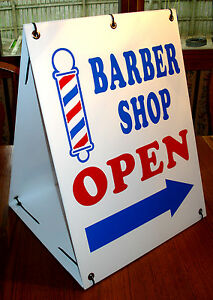 BARBER-SHOP-OPEN-with-ARROW-2-Sided-Sandwich-Board-Sign-Kit-NEW