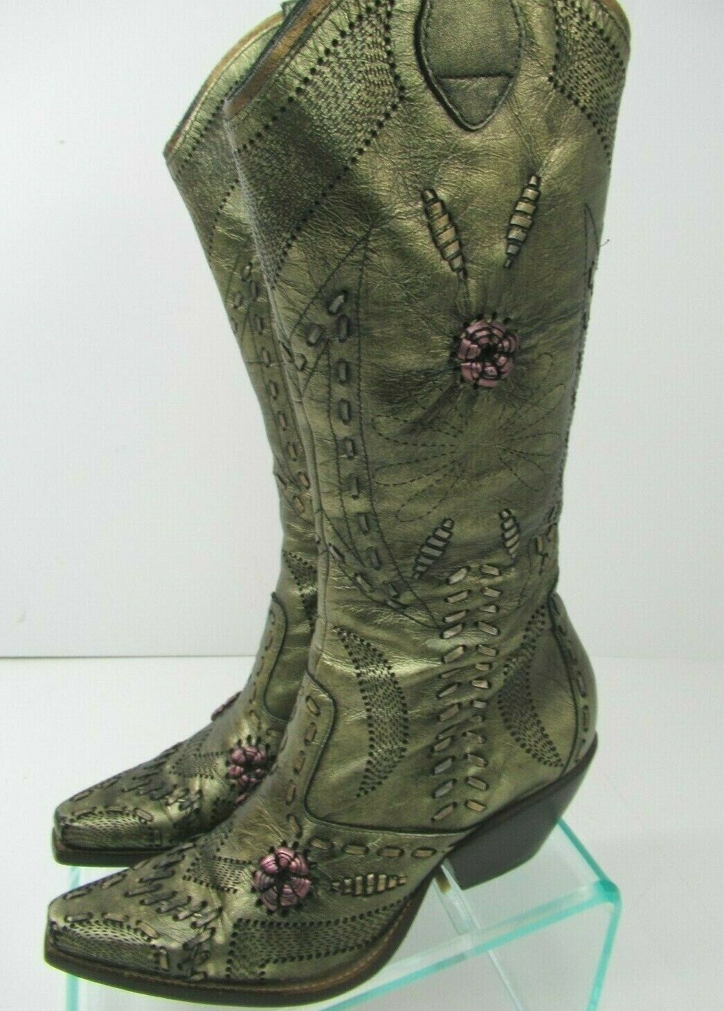 BCBGirls Womens Cowboy Boots Zip Embellished Metallic Green Leather 6B - SS808