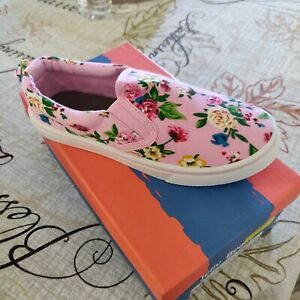 Girls-Size-2-Jelly-Beans-Pink-Floral-Sneakers