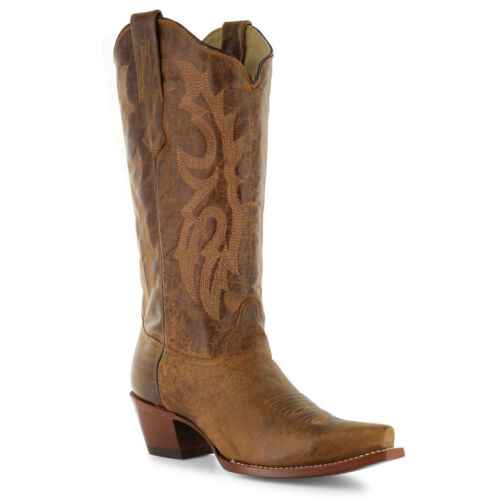 LADIES WAXY BROWN SNIP TOE CORRAL WESTERN BOOTS A2922