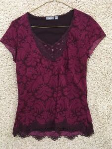 Apt-9-womens-size-S-burgundy-plum-cap-sleeve-lace-trim-knit-top-shirt