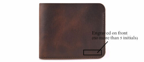 Personalized Genuine Leather Mens Wallet Handmade Pocket Card Coin Engraved Gift