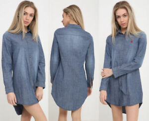 Womens-ex-chain-Denim-Look-Long-Top-T-Shirt-LADIES-Casual-Jeans-Mini-Blouse