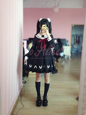 Mori Girl Lolita Loose Japanese Sweet Preppy Style Sailor Collar Kawaii Dress