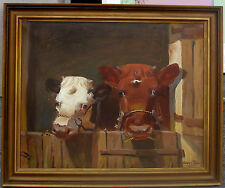 Curtis. Two calves at stable door. 1920s. Fine salon oil