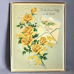 Vintage-1950s-Huge-9-034-x7-034-EASTER-CARD-w-Yellow-Roses-Sparkles-BOX-Wife-GREETING