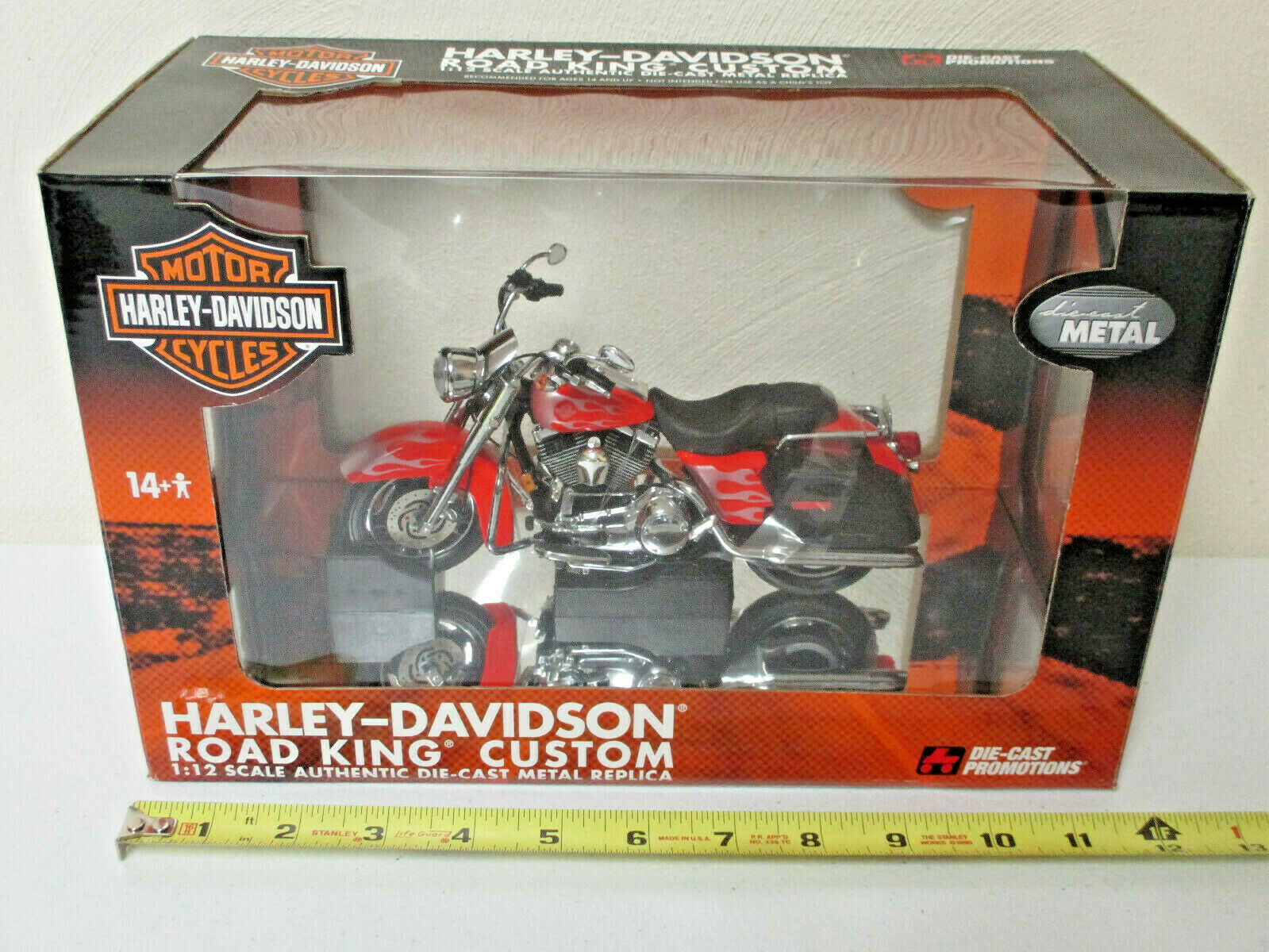 Harley-Davidson Red Road King Custom Motorcycle By DCP 1 12th Scale