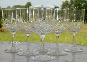 Baccarat-Service-de-6-verres-a-vin-rouge-en-cristal-taille-Cat-1907
