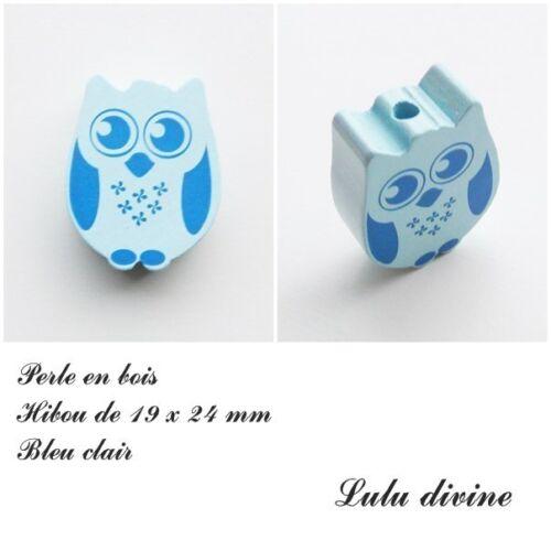 Perle en bois de 19 x 24 mm Bleu clair Perle plate Chouette Hibou