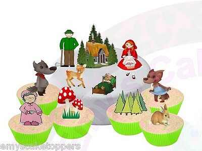 18 Little Red Riding Hood Stand Up Edible Wafer Card Cake/Cupcake Toppers