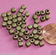 100 Antiqued Brass square cube beads 4mm
