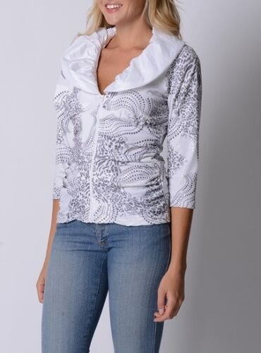 Queenspark Ladies Sienna Zip Up Jacket sizes 10 Small Colour White Silver
