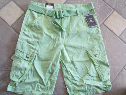 NEW ROYAL PREMIUM LONGER CARGO SHORTS MENS 30 GREEN WITH BELT FREE SHIP