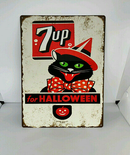 Black Cat JOL 7up Halloween Soda Pop Baked Metal Repro Sign 9x12 60183