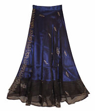 BLUE embroidered LINED princess skirt FITS 10 12 14 16 belly dancing BOHO fairy