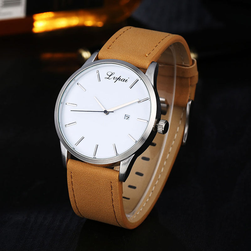 Luxury Men's Date Watch Stainless Steel Leather Analog Quartz Military Watches