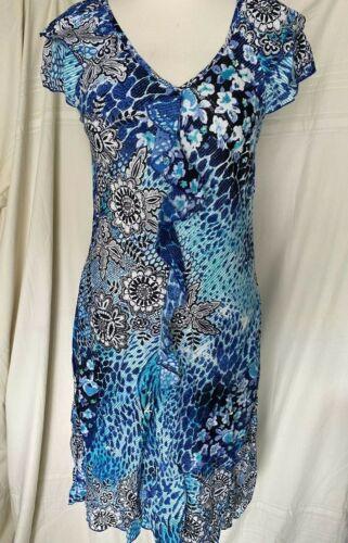 PHOOL 100/% viscose biais coupé robe à mancherons double couche front frill verticale
