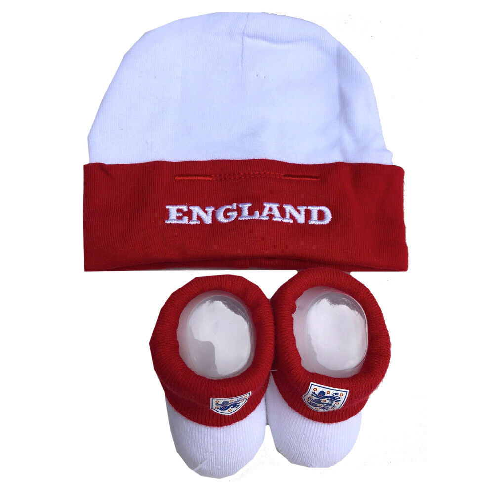 England Official Baby Hat and Bootie Set On Presentation Card 0-6M Red