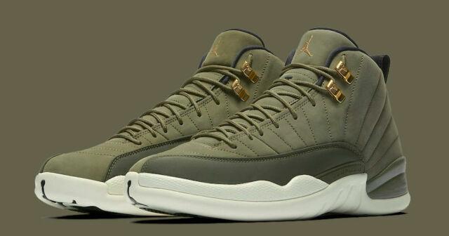 Nike 130690-301 Air Jordan 12 Retro Men's Shoes - Olive Canvas, Size 9.5