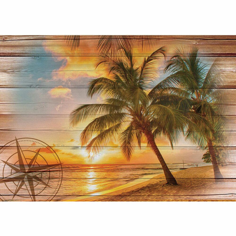 Papier Peint Photo Sable Côte Windpink Palmiers Coucher Du Soleil Liwwing Numéro